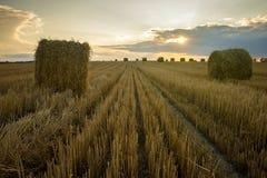 haystacks Por do sol no campo imagens de stock royalty free