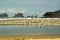 Haystacks przy Działo Plażą, Oregon Zdjęcia Royalty Free