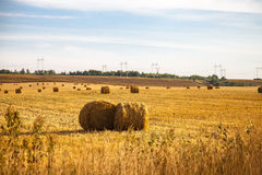 Haystacks ready for autumn. Haystacks in the fields ready for autumn, the end of field works Royalty Free Stock Photos