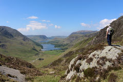Haystacks to Buttermere and Crummock Water Cumbria. View from the south eastern end of Haystacks Hay Stacks, a mountain to the south of Buttermere in the north Royalty Free Stock Photography