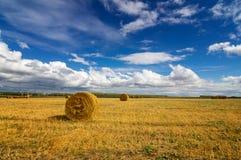 Haystacks w jesieni polu, wiejskim, Rosja, Ural Zdjęcie Royalty Free