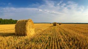 Haystacks w jesieni polu, wiejskim, Rosja, Ural Obrazy Royalty Free