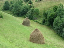Haystacks. On a hill, countryside detail Royalty Free Stock Photography