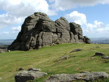 Haytor Rock Dartmoor South West England. Haytor on Dartmoor in Devon - 457 metres high and very popular with climbers and visitors to the area Royalty Free Stock Photography