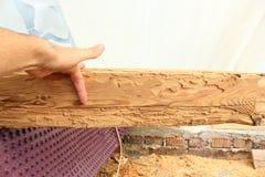Haz de madera que muestra ataque del insecto imagen de archivo libre de regalías