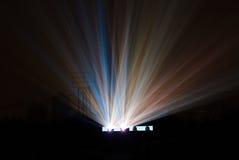 Haz luminoso colorido del proyector de película Imagen de archivo libre de regalías