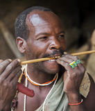 Hazabe bushman of the hadza tribe in traditional beaded jewelry Stock Images