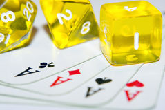 Hazard. Some cards to play with cubes royalty free stock photo