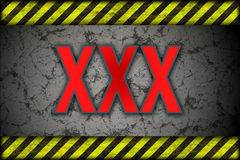Hazard background XXX. warning lines, black and yellow. Stock Photo