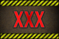 Hazard background XXX. warning lines, black and yellow. Royalty Free Stock Photo