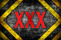 Hazard background XXX. warning lines, black and yellow. Royalty Free Stock Photos
