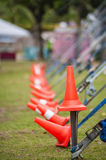 Hazard Cones. Placed on every tent pegging to avoid tripping Stock Images