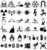 Hazard and danger Graphics. Black and white silhouette hazard danger and emergency signage related graphics collection isolated on black background Royalty Free Stock Photography