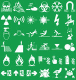Hazard and danger Graphics. Silhouette hazard danger and emergency signage related graphics collection  on green background Stock Photos