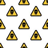 Hazard danger skull signs on white background, warning seamless pattern vector illustration. EPS Stock Image