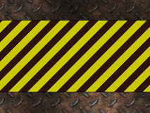 Hazard danger warning. Yellow industrial construction lines set in rusty metal illustration as a sign of danger Stock Photos
