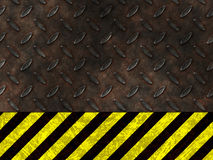 Hazard danger warning. Dirty worn yellow industrial construction lines set in rusty metal illustration as a sign of danger Royalty Free Stock Image