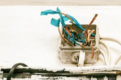 Hazard electrical wiring. Exposed wire in the electrical wiring in the wall Royalty Free Stock Photography