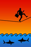 Hazard. Finding yourself on a tightrope in a dangerous situation Royalty Free Stock Photo