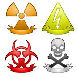 Hazard icons with banners Stock Image