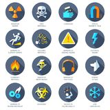 Hazard Icons Flat Stock Photo