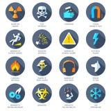 Hazard Icons Flat Stock Photo