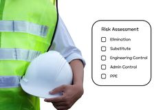 Hazard Identification and Risk Assessment concept. Hazard Identification and Risk Assessment concept Safety work place - Engineering man or Safety Inspector royalty free stock photo