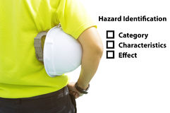 Hazard Identification and Risk Assessment concept Safety work place Stock Images
