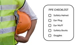 Hazard Identification and Risk Assessment concept. Hazard Identification and Risk Assessment concept Safety work place - Engineering man or Safety Inspector stock images