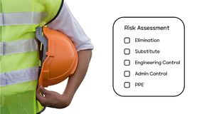 Hazard Identification and Risk Assessment concept. Hazard Identification and Risk Assessment concept Safety work place - Engineering man or Safety Inspector stock photography