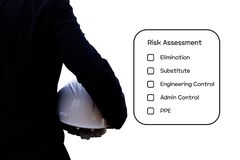 Hazard Identification and Risk Assessment concept. Hazard Identification and Risk Assessment concept Safety work place - Engineering man or Safety Inspector royalty free stock image