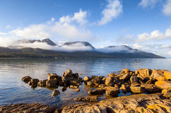 Hazard Ranges, Freycinet National Park. View over Coles Bay towards the Hazard Ranges, Freycinet National Park, on the east coast of Tasmania stock photography