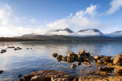 Hazard Ranges, Freycinet National Park. View over Coles Bay towards the Hazard Ranges, Freycinet National Park, on the east coast of Tasmania stock photo