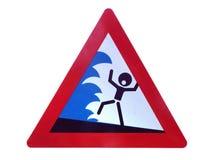Hazard Shield flood risk. Hazard statement on bridges over a stream Stock Image