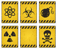 Hazard sign. Grunge yellow hazard sign. You can place your own on the blank one royalty free illustration