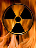 Hazard sign in fire. Sign of chemical hazard burn in fire Royalty Free Stock Photo