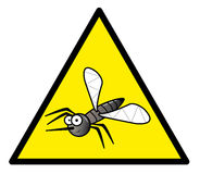 Hazard sign with a mosquito in it Royalty Free Stock Images