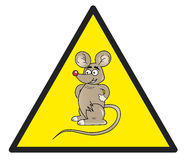 Hazard sign with a mouse in it Stock Photos