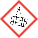Hazard sign with suspended loads stock photos