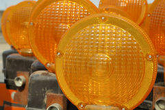 Hazard signal lights. Road hazard signal Stock Image
