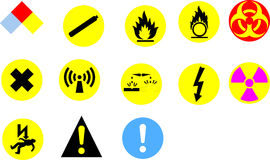 Hazard signs Stock Photo