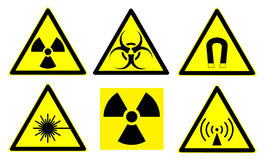 Hazard signs set 1 Royalty Free Stock Images