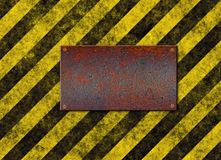 Hazard stripes plaque sign  Royalty Free Stock Photography