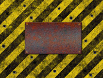 Hazard stripes warning plaque Stock Photography