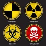 Hazard Symbols & Signs. Set of circular Hazard Symbols & Signs stock illustration