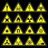 Hazard symbols and signs collection Stock Photography