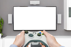 Hazard sztuki gemowy wideo na tv lub monitorze Gamer pojęcie Zdjęcie Stock