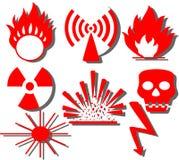Hazard warning. Vector illustration of different hazard warnings vector illustration