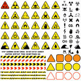 Hazard warning attention sign with exclamation mark symbol information and notification icons vector. Stock Image