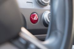 Hazard Warning Light Button with triangle stock photo